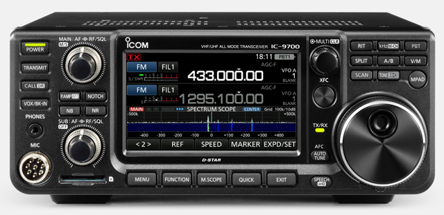 IC-9700 front view (courtesy Icom UK). Click for larger image.